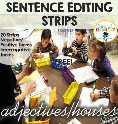 Sentence Editing Strips COVER PAGE_ADJECTIVES_HOUSES